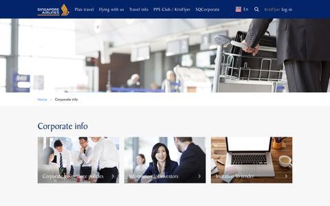Screenshot of About Page singaporeair.com - Corporate info - captured Aug. 20, 2016