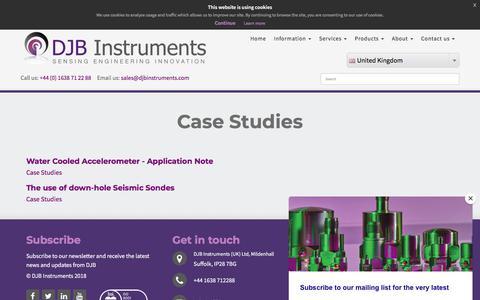 Screenshot of Case Studies Page djbinstruments.com - Case Studies - captured Aug. 5, 2018