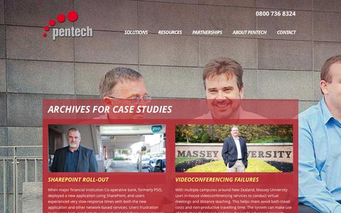 Screenshot of Case Studies Page pentech.co.nz - Case Studies Archive - Pentech Communications - captured Jan. 27, 2016