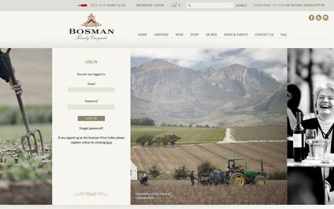 Screenshot of Login Page bosmanwines.com - Log In - Bosman Wines - captured March 16, 2016