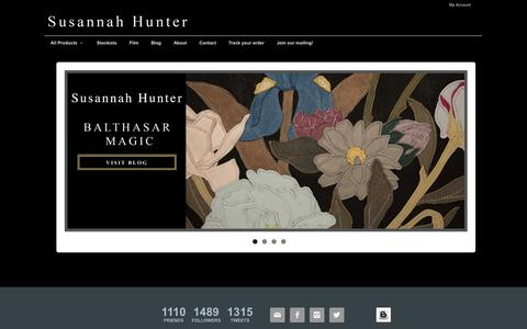 Screenshot of Home Page susannahhunter.com - Susannah Hunter :: Luxury Leather Handbags & Furnishings - captured Sept. 30, 2014