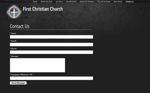 Screenshot of Contact Page fccbrazil.org - Contact Us   First Christian Church - captured Feb. 10, 2016