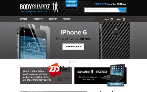 Screenshot of Home Page bodyguardz.com - Screen Protection, Cases, & Skins for Mobile Devices like iPad, iPhone and Android   BodyGuardz Protection - captured Sept. 12, 2014