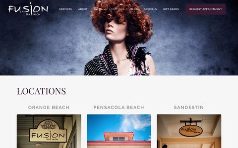 Screenshot of Locations Page fusionspasalonaveda.com - Locations   Fusion Spa Salon   Orange Beach, Pensacola Beach, and Sandestin - captured Nov. 25, 2016