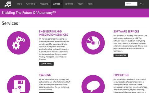 Screenshot of Services Page autonomoustuff.com - Services | AutonomouStuff, LLC | Contact us today! - captured Oct. 9, 2017