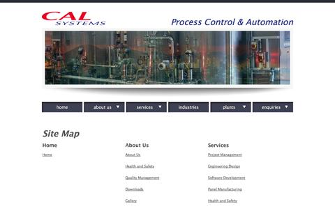 Screenshot of Site Map Page cal-systems.co.uk - CAL Systems Specialists in Process Control and Automation - captured Sept. 26, 2014