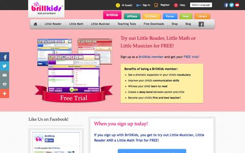 Screenshot of Trial Page brillkids.com - BrillKids Free Trial Software | Early Education Learning Systems - captured Sept. 19, 2014