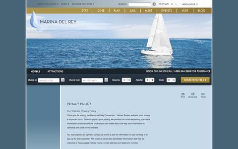 Screenshot of Privacy Page visitmarinadelrey.com - Marina del Rey Convention & Visitors Bureau - Privacy Policy - captured Sept. 25, 2014