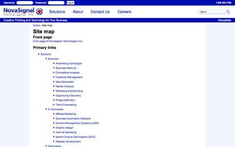 Screenshot of Site Map Page novasignal.com - Site map   NovaSignal Technologies Inc. - captured Oct. 26, 2014
