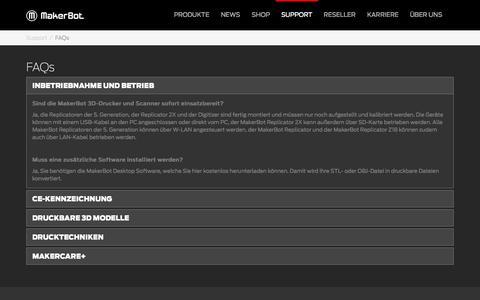Screenshot of FAQ Page makerbot.com - FAQs - captured Oct. 27, 2014