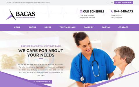 Screenshot of Services Page bacasmd.com - Services - BACAS - captured Sept. 15, 2017