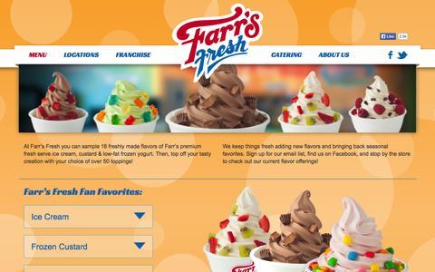 Screenshot of Menu Page farrsfresh.com - Menu - Farr's Fresh Ice Cream, Frozen Yogurt and Custard - captured Oct. 5, 2014
