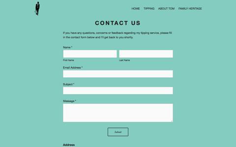 Screenshot of Contact Page tomwaterhouse.com - Contact Us — TomWaterhouse.com - captured Aug. 1, 2018