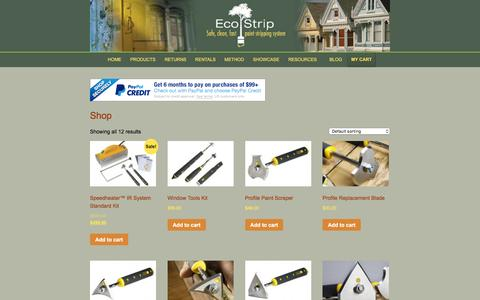 Screenshot of Products Page eco-strip.com - Paint Scrapers, Removal Tools, & Ladder Hooks | Eco-Strip - captured Jan. 25, 2016