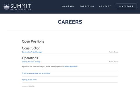 Screenshot of Jobs Page shpreit.com - Real Estate Investment Trust Careers - REIT Job Opportunities | Summit Hotel Properties - captured Nov. 16, 2018