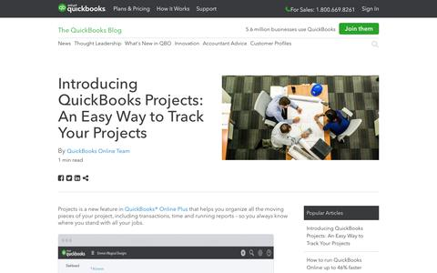 Screenshot of Press Page intuit.com - Introducing QuickBooks Projects: An Easy Way to Track Your Projects - QuickBooks - captured Nov. 21, 2019