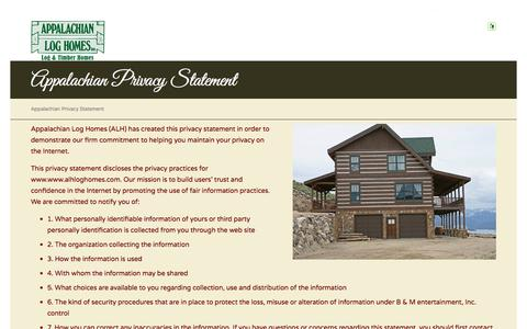 Screenshot of Privacy Page alhloghomes.com - Appalachian Privacy Statement - Appalachian Log & Timber Homes - Rustic Design for Contemporary Living. - captured Oct. 8, 2017