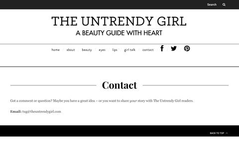 Screenshot of Contact Page theuntrendygirl.com - Contact - The Untrendy Girl | A Beauty Guide with Heart - captured Nov. 17, 2017
