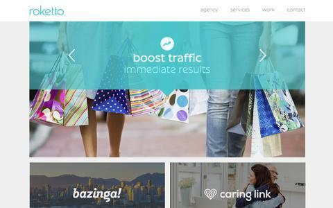 Screenshot of Home Page roket.to - Kelowna Web Design + Internet Marketing | Roketto - captured Feb. 15, 2016