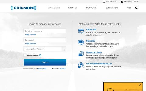 Screenshot of Login Page siriusxm.com - Manage Your SiriusXM Account - Sign In, Convert From a Trial or Activate A Radio - SiriusXM Radio - captured July 10, 2019