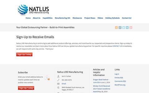 Screenshot of Signup Page natlusurd.com - Sign-Up to Receive Emails | Natlus URD Manufacturing, Inc. - captured Oct. 26, 2014