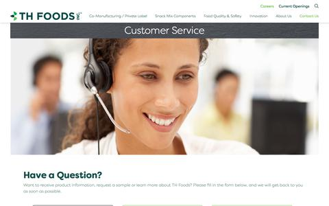 Screenshot of Support Page thfoods.com - Customer Service - TH Foods, Inc. - captured Nov. 16, 2017