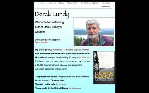 Screenshot of Home Page dereklundy.com - Home - captured Oct. 10, 2015