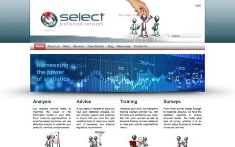 Screenshot of Home Page select-statistics.co.uk - Select: Statistical Consultants   Analysis, Advice, Training and Surveys - captured Oct. 3, 2014