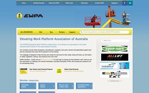 Screenshot of Home Page ewpa.com.au - Elevating Work Platform Association - Elevating Work Platform Association of Australia - captured July 15, 2018