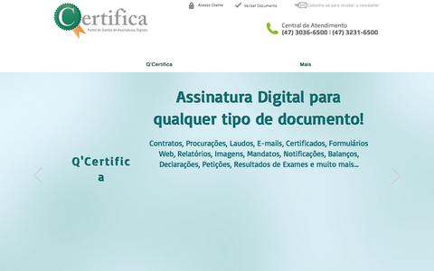 Screenshot of Home Page qcertifica.com.br - QCertifica - Assinatura Digital - captured Feb. 14, 2018