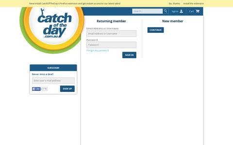 Screenshot of Login Page catchoftheday.com.au - CatchOfTheDay.com.au - captured July 18, 2014