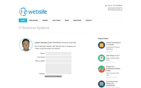 Screenshot of Contact Page 12website.com.au - Business database tools Sunshine Coast Brisbane myob e-commerce access mysql - captured Feb. 16, 2018