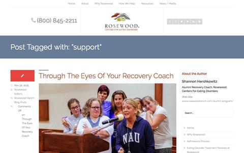 Screenshot of Support Page rosewoodranch.com - support Archives - Rosewood Centers for Eating Disorders - captured Feb. 15, 2016