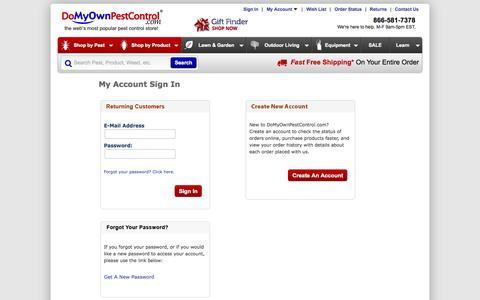Screenshot of Login Page domyownpestcontrol.com - Do It Yourself Pest Control Products & Supplies | Do My Own Pest Control - captured Sept. 19, 2014