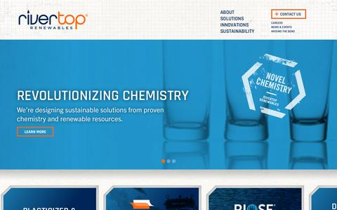 Screenshot of Home Page rivertop.com - Rivertop Renewables - Novel Chemicals for a Changing World - captured Aug. 11, 2015
