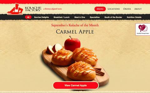 Screenshot of Menu Page kolachefactory.com - Kolache Factory: A History of Good Taste - Food Menu - captured Sept. 24, 2014