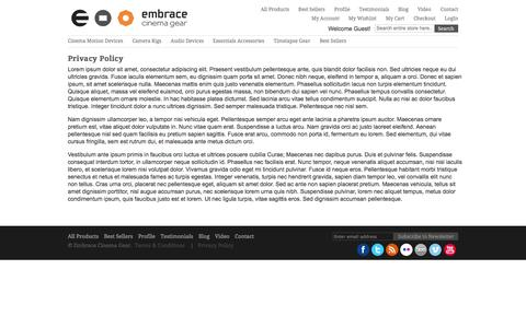 Screenshot of Privacy Page embracecinemagear.com - Privacy Policy - captured Sept. 29, 2014