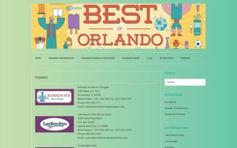 Screenshot of Contact Page orlandofunspots.com - Contact - Orlando Fun Spots - captured Oct. 21, 2017