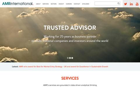 Screenshot of Home Page amrinternational.com - Business Growth Strategy Consulting in London | AMR International - captured Dec. 22, 2015
