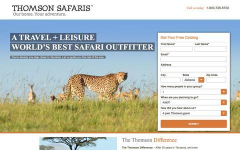 Screenshot of Landing Page thomsonsafaris.com - African Safari Tours | Tanzania Safari | Thomson Safaris – Just another WordPress site - captured July 27, 2016
