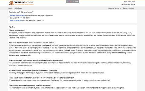 Screenshot of Contact Page venere.com - Venere.com - Contact Us & FAQs - captured Aug. 19, 2016
