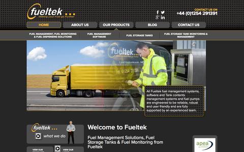 Screenshot of Home Page fueltek.co.uk - Fuel Management Solutions, Fuel Storage Tanks & Fuel Monitoring - captured Sept. 30, 2014