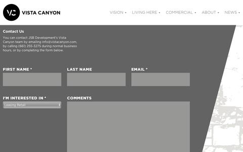 Screenshot of Contact Page vistacanyon.com - Contact Us - Vista Canyon - captured April 25, 2016