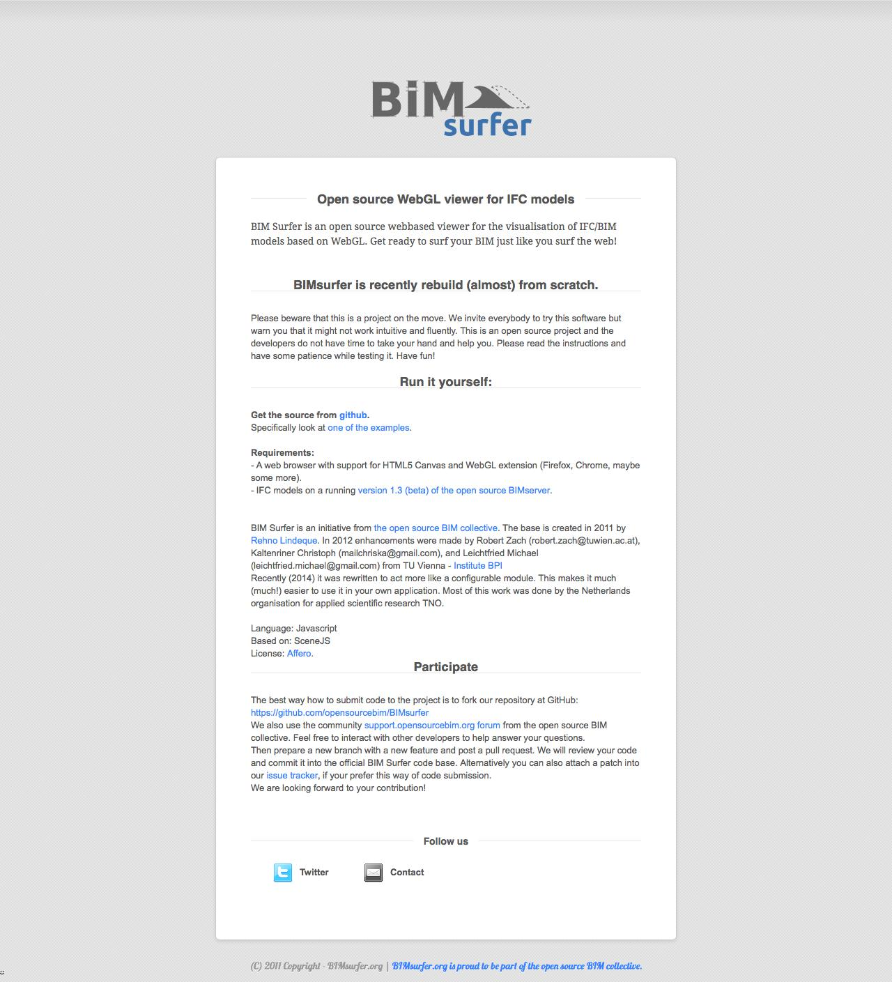 Web Design Example | A page on bimsurfer org | Crayon