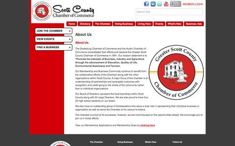 Screenshot of About Page scottchamber.org - About Us - Greater Scott County Chamber of Commerce, IN - captured March 17, 2016