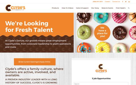 Screenshot of Jobs Page clydesdonuts.com - Careers – Clyde's Donuts - captured Sept. 28, 2018