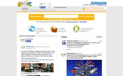 Screenshot of Home Page directoresto.fr - Le Guide Restaurant de France. Annuaire meilleur restaurant - captured Sept. 30, 2014