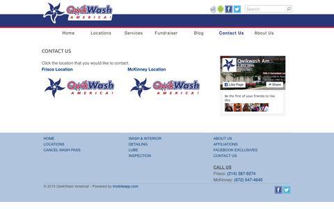 Screenshot of Contact Page qwikwash.com - Contact Us - QwikWash America! - captured Jan. 14, 2016