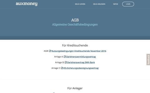 Allgemeine Geschäftsbedingungen und Anlagen – auxmoney.com