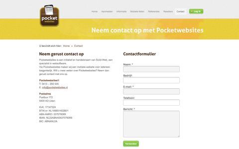 Screenshot of Contact Page pocketwebsites.nl - Contact - Pocketwebsites; mobiele websites uit Uden   Pocketwebsites: uw website mobiel! - captured Sept. 30, 2014